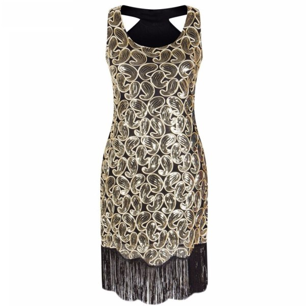 Women's 1920s Sequin Paisley Pattern Sleeveless Racer Back Flapper Black Gold Dress Sexy Fringe Great Gatsby Party Dress
