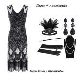 Women 1920 s Vintage Great Gatsby Dress Sequins Dress V-Neck Tassels Bodycon Beaded Party Dress Flapper Dresses Art Deco Double
