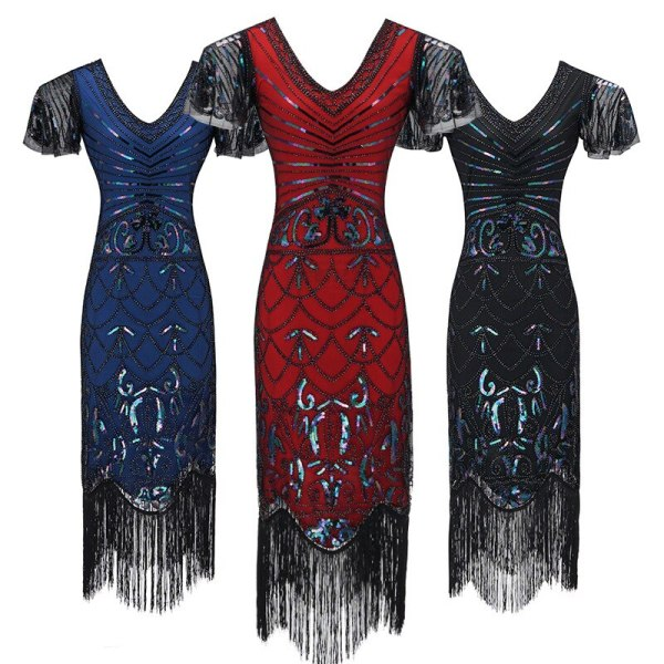 New Design 1920s Flapper Dress Great Gatsby Party Evening Sequins Fringed Dresses Gown Lady Dress