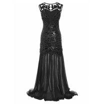 1920s Long Sequins Chiffon Gatsby Mermaid V-Back Vintage Women Dresses Sparkling Cheap Free Shipping Club Dresses Plus Size XXL