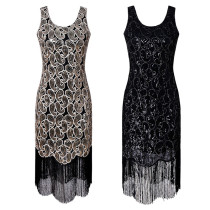 Women 1920s Sequin Flapper Dress Bead Embroidery Gatsby Sleeveless Ladies Fringe Cocktail Party Dress for Prom Theme Par