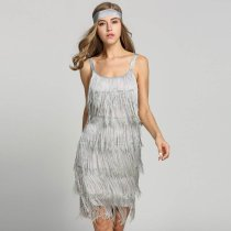 1920s Great Gatsby Dress Slash Neck Strappy Tiered Fringe Dress Vintage Flapper Party Fancy Dress Costumes With Headband