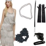 2019 Solid Colour Tassel Spaghetti Strap Sheath Party Mini Dress Fancy GATSBY headband Gloves Set Cosplay Halloween Party Dress