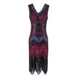 Plus Size 4XL Great Gatsby Party Dress Women 1920s Dress Sexy V-Neck Embroidery Fringe Sequin Beaded Tassels Hem Flapper Dress