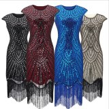 1920s Vintage sequin tassel sleeve party dress