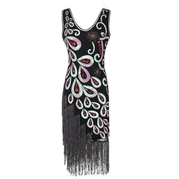 2019  Peackock pattern 1920s Flapper Dress Great Gatsby Party Evening Sequins Fringed Dresses Gown