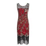 Vintage 1920s Flapper Great Gatsby Dress O-Neck Cap Sleeve Sequin Fringe Party Midi Dress Vestidos Verano 2018 Summer Dress