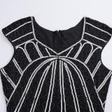 1920 s Vintage Gatsby aleta flecos Arte Deco vestido vestidos de fiesta de Midi de estilo borla vestidos de verano de manga larg