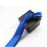 Tie for Men Slim Tie Solid color Necktie Polyester Narrow Cravat 5cm width 35 colors Royal Blue Gold Party Formal Ties Fashion