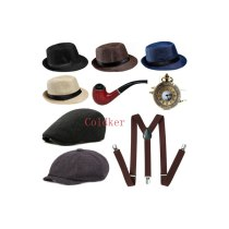 Cosplay Costumes Mens 1920s 20s Gangster Set Hat Braces Tie Cigar Gatsby Kit Costume Accessories