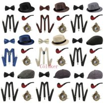 Cosplay Costumes Halloween Christmas 1920s Mens Gatsby Gangster Accessories Set Panama Hat Suspender Bow Tie Watch Drop Shipping