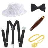 Mens 1920s 20s Gangster Set Hat Braces Tie Cigar Gatsby Kit Costume Accessories
