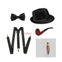 Cosplay Costumes 1920s Men Accessories Gangster Costume- Manhattan Hat Y-Back Suspenders Tie Cigar Party Accessory