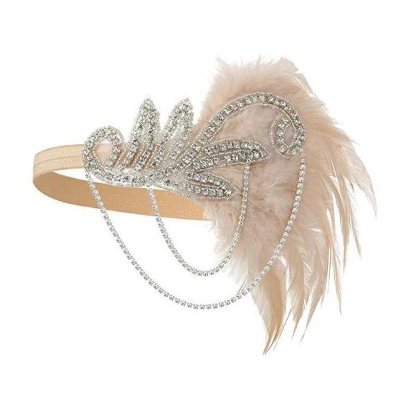 Silver 1920's Headband Flapper Headpiece Great Gatsby feather beaded headband Chain