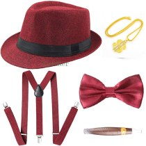 Mens 1920s 20s Gangster Set Hat Braces Tie Cigar Gatsby Kit Costume Accessories