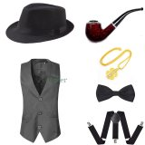 1920s Mens Gatsby Gangster Costume Accessories Set 30s Manhattan Fedora Hat Suspenders Vest Tie Party Accessory