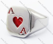 Stainless Steel Poker Red A Ring -JR330077