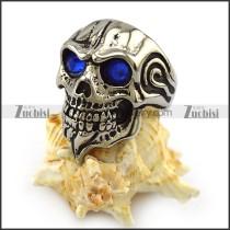 Blue Rhinestone Eyes Skull Ring with Beard r004324