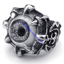 ashy tone evil eye ring in stainless steel JR350271