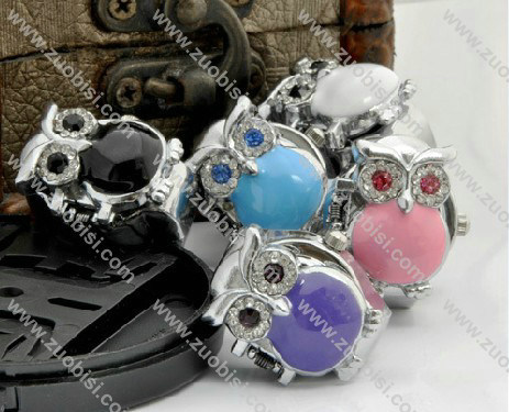 Colorful Stone Little Owl Pocket Watch -PW000225