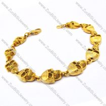 10 Yellow Gold Plating Stainless Steel Skull Bracelet with Lobster Clasp JB170099