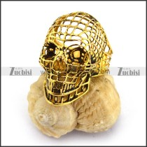 Gold Hollow Steel Skull Ring r003660