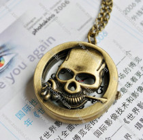 Rose Skull Pocket Watch with Chain -PW000166