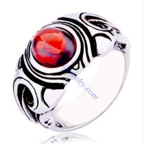 Red Stone Stainless Steel Ring -JR350254
