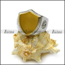 golden stainless steel blank shield face signet ring with silver ring set r005212