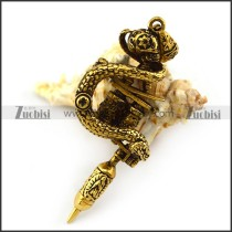 Vintage Gold Stainless Steel Tattoo Pendant p004810
