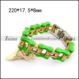 Large Green Outside and Gold Plating Inside Steel Bike Chain Bracelet b005812