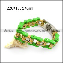 Large Green Outside and Gold Plating Inside Steel Bike Chain Bracelet b005812