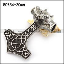 Wolf Hammer Pendant in 80mm Long p003751