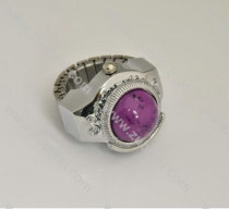 Silver Ring Watch with Purple Stone - PW000011-3