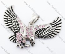 Stainless Steel Eagle Pendant with pale Pink Crystal - JP420006