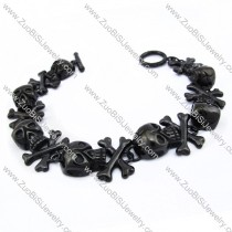 7 Black Plating Crossbones Charm Bracelet with OT Buckle JB170098