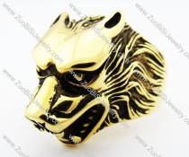 Gold Stainless Steel Wolf Ring for men -JR010178