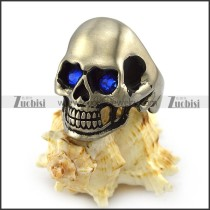 Matte Skull Ring with Blue Rhinestone Eyes r004289