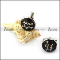 Black Epoxy Skull Cufflink in Stainless Steel c000143