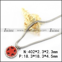 Rhinestones Red Star Pendant Snake Chain n001739