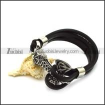 black leather viking thor hammer bracelet b006733