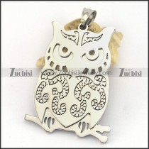 Silver Stainless Steel Owl Cutting Pendant p003248