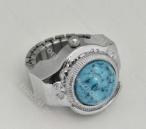 Silver Ring Watch with Turquoise Stone - PW000011-4
