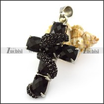 Black Rhinestone Snake Twined around Cross Pendant p005739