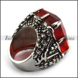Clear Red Jumbo Square Stone Ring r004226