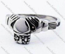 Two Hands Stainless Steel Crown Ring -JR010099