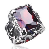 Aggressive Male Ring in Stainless Steel with Facted Red Square Stone Ring -JR350251