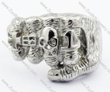 Stainless Steel Fist Ring Plus Skull -JR330015