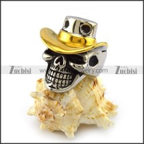 Skull Ring with Gold Cowboy Hat r003995