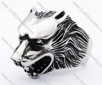 Silver Stainless Steel Wolf Ring -JR010130